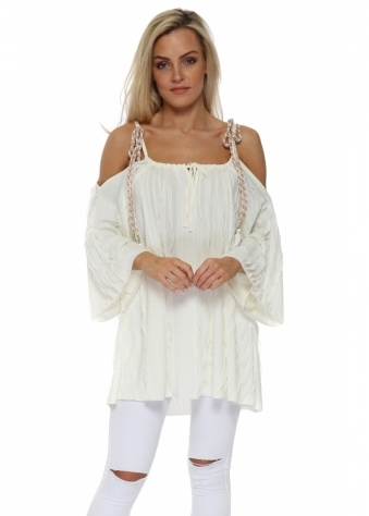 Cream Textured Ruffle Cold Shoulder Top