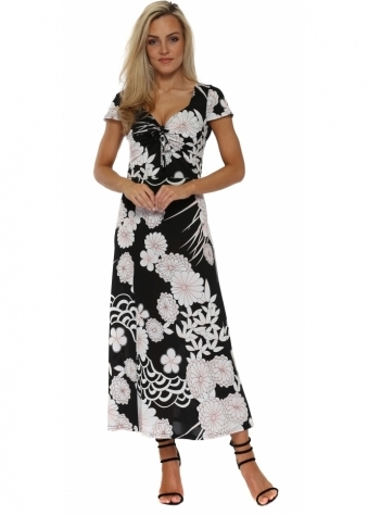 Black Floral Print Ankle Grazer Maxi Dress