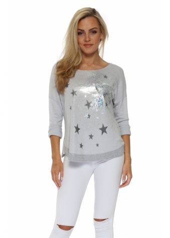 Dove Grey Silver Hologram Star Sweater Top