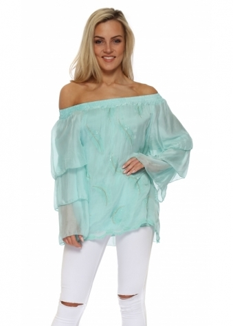 Mint Sequinned Feather Silk Off The Shoulder Top