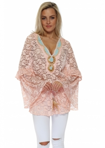 Dentelle Baby Pink Floral Lace Embellished Tunic Top