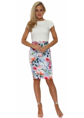 Multi Floral Printed Colour Block Pencil Dress
