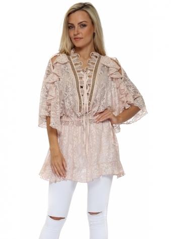 Pink Lace Corset Tie Cold Shoulder Mini Dress