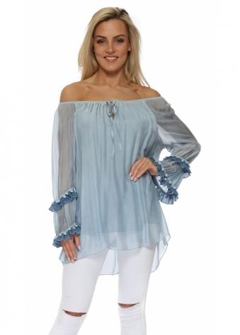 Blue Silk Pom Pom Off The Shoulder Blouse