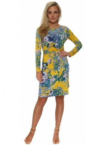 Blue & Yellow Floral Tulip Wrap Dress