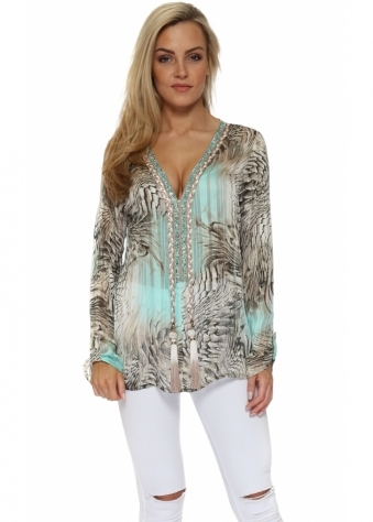 Diams Turquoise Snake Print Crystal Embellished Top