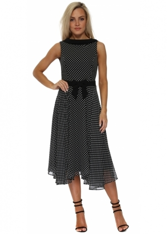 Black Polka Dot Collar Neckline Midi Dress