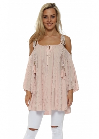 Pink Textured Ruffle Cold Shoulder Top