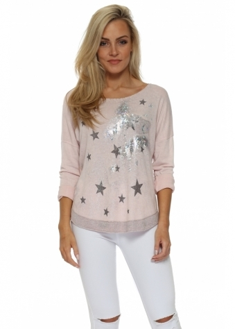 Baby Pink Silver Hologram Star Sweater Top