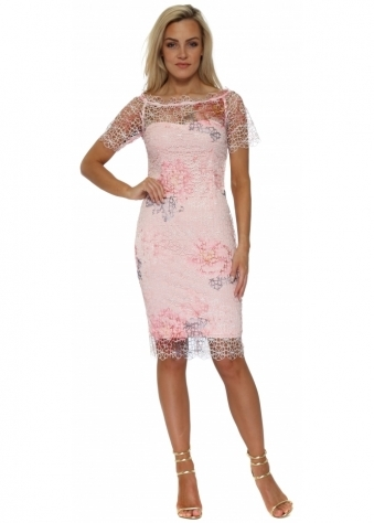 Pink Floral Crochet Lace Bardot Pencil Dress