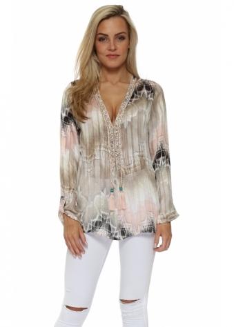 Diams Pink & Mocha Crystal Embellished Tunic Top