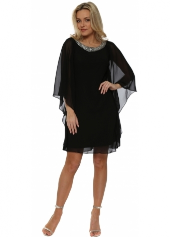 Black Chiffon Diamonte Batwing Dress