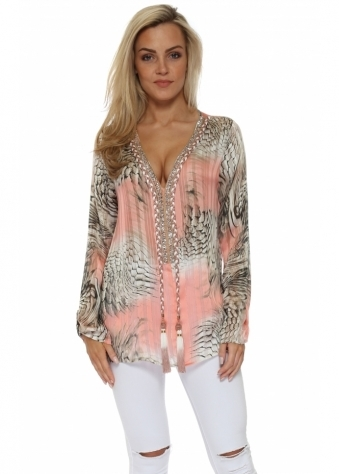 Diams Peach Snake Print Crystal Embellished Top