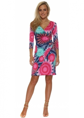 Fucshia Tie Dye Print Wrap Dress