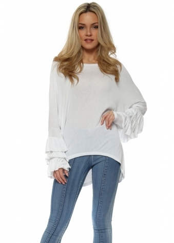 White Layered Frill Sleeve Dip Hem Top