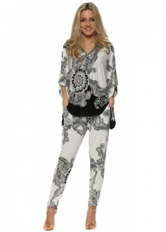 Cream & Black Paisley Print Trouser Suit