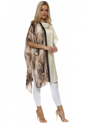Cream Satin Colour Block Snake Print Kaftan