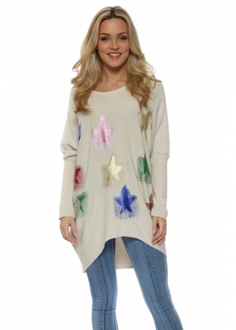 Beige Multi Glitter Shooting Star Baggy Jumper