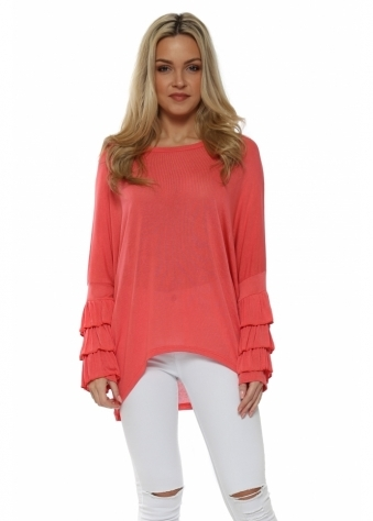 Coral Layered Frill Sleeve Dip Hem Top