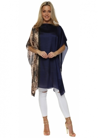 Navy Blue Satin Colour Block Snake Print Kaftan