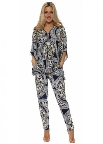 Navy & Mustard Paisley Print Trouser Suit