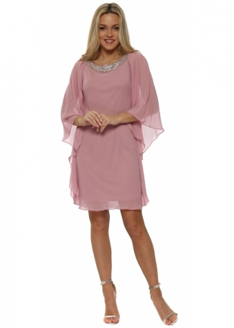 Dusky Pink Chiffon Diamonte Batwing Dress