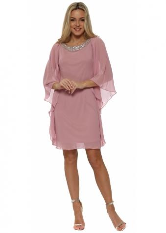 Dusky Pink Chiffon Diamonte Batwing Dress