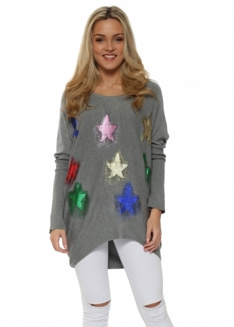 Grey Multi Glitter Shooting Star Baggy Jumper