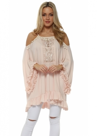 Pink Ruffle Crochet Panel Cold Shoulder Tunic Top