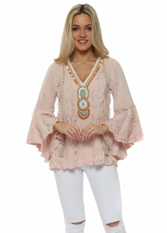 Pink Textured Ruffle Embellished Blouse