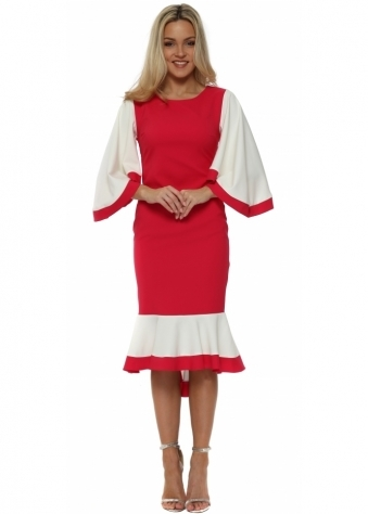 Fuchsia Colour Block Frill Batwing Dress