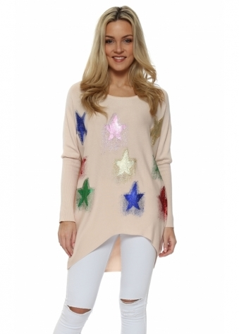 Pink Multi Glitter Shooting Star Baggy Jumper