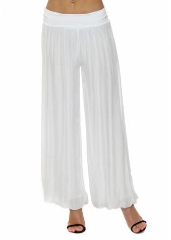 White Silk Palazzo Trousers