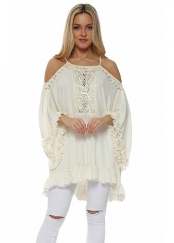 Cream Ruffle Crochet Panel Cold Shoulder Tunic Top