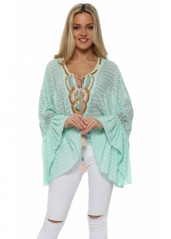 Mint Crochet Lace Embellished Bell Cuff Top
