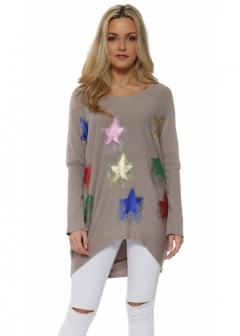 Mocha Multi Glitter Shooting Star Baggy Jumper