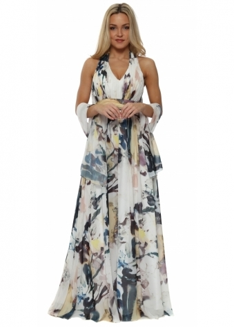 Pleated Bodice Multicolour Halter Neck Maxi Dress