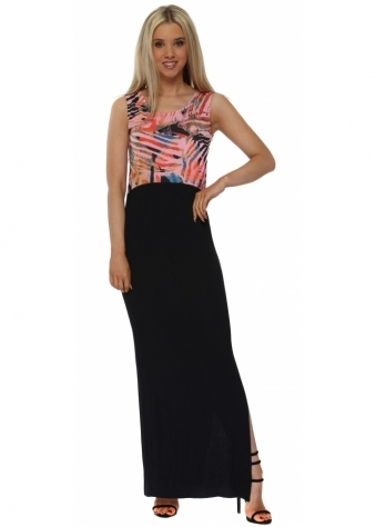 Tamra Tropical Tribe Coral Colour Block Maxi Dress