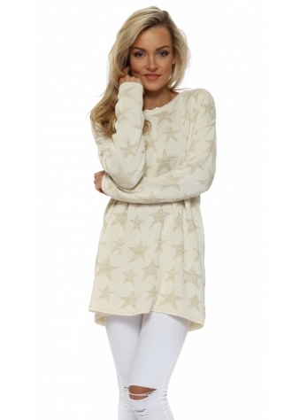 Cream & Gold Ibiza Stars Soft Knit Jumper