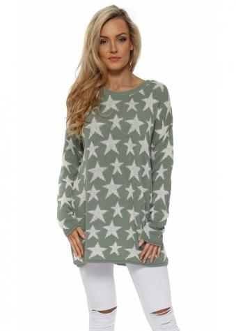 Khaki & Cream Ibiza Stars Soft Knit Jumper