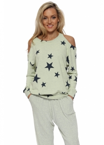 Belle Lemonade Melange Star Cold Shoulder Sweater
