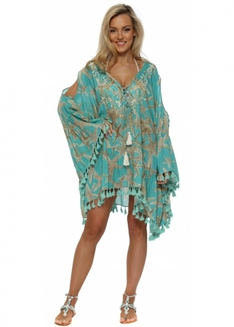 Turquoise Cotton Beaded Cold Shoulder Kaftan