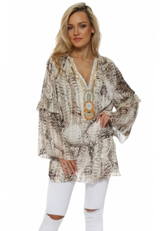 Animal Print Beaded Ava Tunic Top