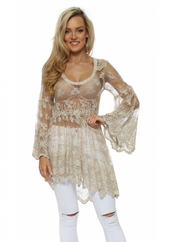 Pearl Embellished Lace Tulle Asymmetric Top