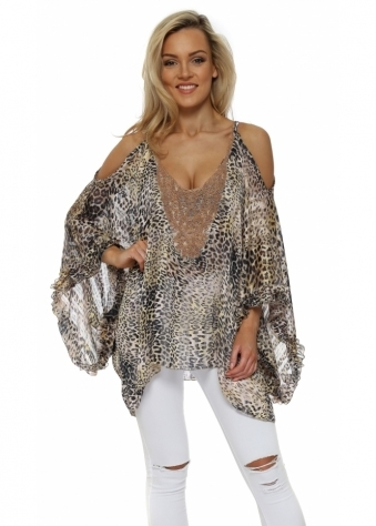 Leopard Cold Shoulder Beaded Kaftan Top