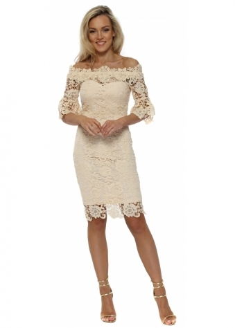Buttermilk Crochet Lace Bardot Pencil Dress