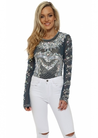 Cheryl Luxe Embellished Petrol Long Sleeve Body