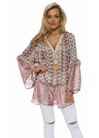 Pink Print Beaded Ava Tunic Top
