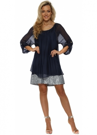 Navy Blue Sequinned Border Silk Tunic Dress