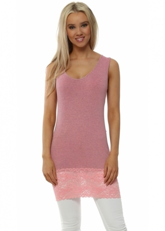 Sammy Ibiza Coral Melange Lace Hem Long Vest